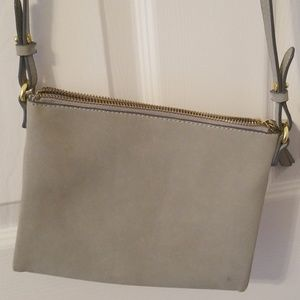 Gray suede crossbody bag